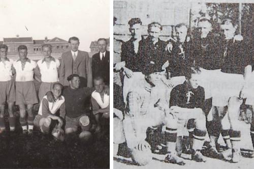 Kairėj pusėj - 1930, dešinėj - 1938. Rodau jas, nors techniškai šių komandų Sūduva dar nepavadinsi. Dešinioji nuotrauka ir visos kitos juodai baltos - iš Jono Raudžiansko knygos.