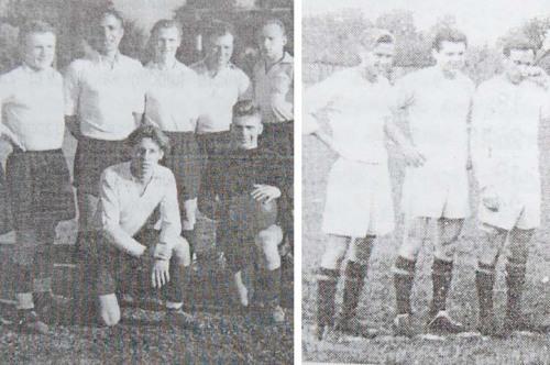Kairėj pusėj - 1951 m. Marijampolės Žalgiris, dešinėj - 1958 m. Cukraus fabriko komanda.