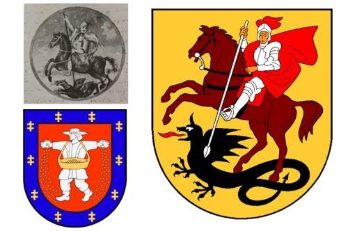 Marijampolės šiandieninis herbas - dešinėje.
